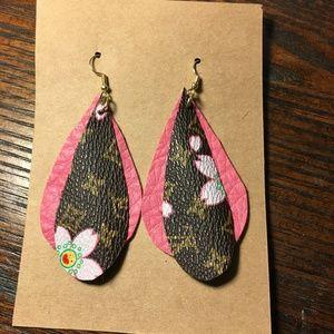 Leather Teardrop Handmade Earrings Upcycled